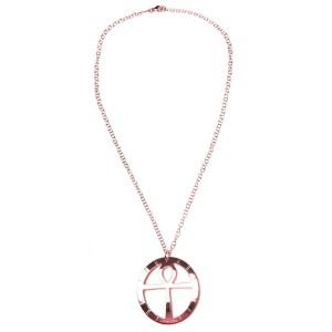 Collar con medallón y cadena oro rosado